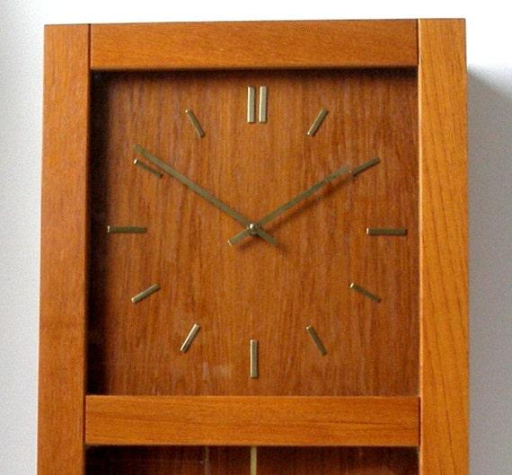 Westminster Copenhagen Oiled Teak Pendulum Wall Clock 28x15