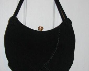 RESERVED // ROSENFELD Suede Purse // Vintage 50's Estate Black Leather Handbag Hipster Retro
