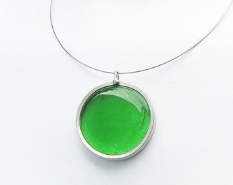 Green Pendant,  Melted glass marble necklace, glass jewelry, necklace pendant 041