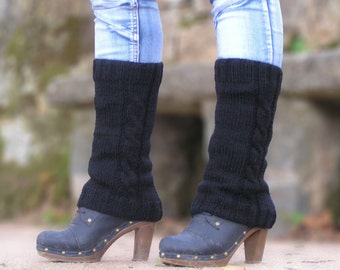 Boot Cuffs, Knit Leg Warmers, Black, Acrylic, Boot Socks, Made to Order