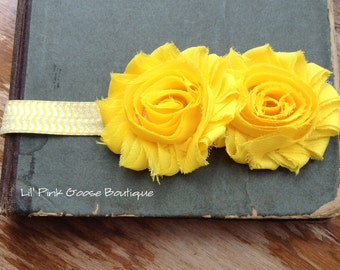 YELLOW CHEVRON Headband, Infant Headbands, Newborn Headbands, Yellow Headband, Newborn Headband, Headbands for Babies, Shabby Chic Headband
