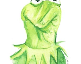 Kermit Squinchy Face (5x7 print)