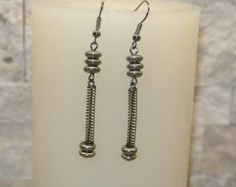 Hardware Jewelry - Gun Metal Dangles - Metallic Elegance