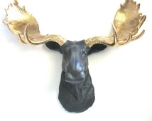 CHARCOAL GOLD Faux Taxidermy Moose Head Wall Mount Wall Decor Home Decor: Max the Moose in charcoal grey with gold antlers