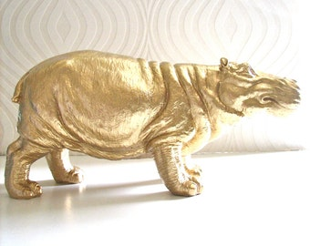 Large Hippo Statue in gold:  Hans the Hippo home decor, kids room, office unique gift