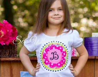 Flower initial shirt or bodysuit- girls flower shirt- Monogram Flower shirt- Summer Applique shirt- Birthday girl- Circle Monogram- Custom