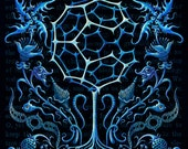 Surreal art print, Carbon Based Life Forms: Strange blue flowers, Mystical art, Trippy weird organisms, fantasy science, oddity curiosity