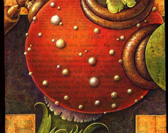 Magic mushroom art print, Goodly Shroombelly: Round red belly of a mad scientist's weird creature, Chimera painting,Oddity curiosity
