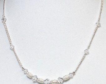 Swarovski Crystal Bicones With Silver Cylinder Bead Necklace