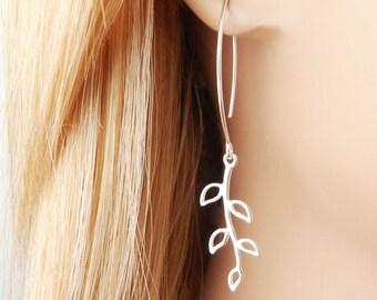 Silver Leaf Earrings, Sterling Silver, Leaf Jewelry, Leaf Dangle Earrings, Modern Earrings, Long Earrings, Fall Wedding, Minimalist.