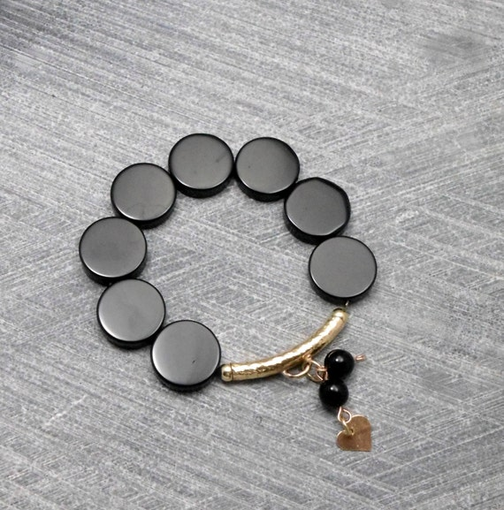 Black Bracelet, Elastic, Black  Disc-shaped Onyx Beads, Gold Filled Tube with Heart Charm, For Any Outfit, Valentine