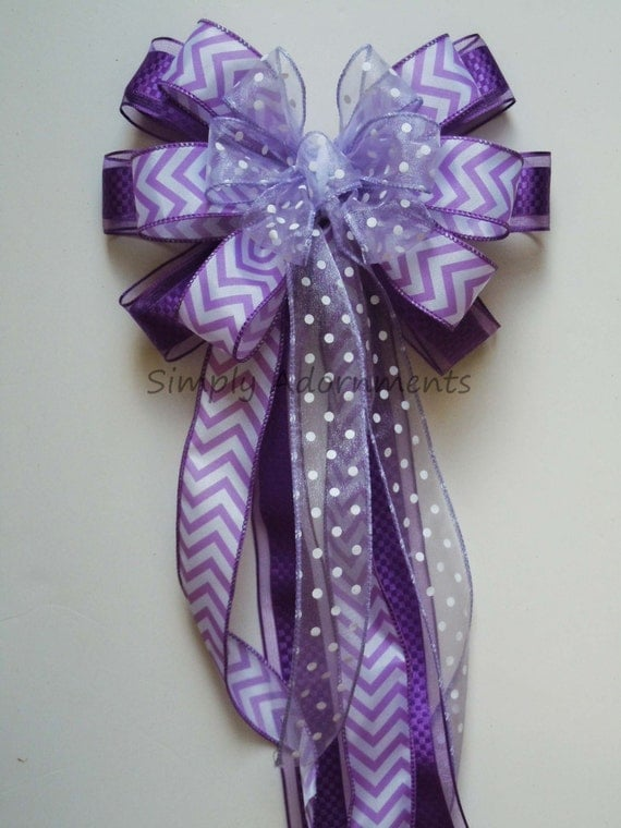 Orchid Purple White Wedding Bow Easter Wreath Bow White  Lavender Chevron Church Pew Bow Birthday Party Decoration Bridal Shower Gift Bow
