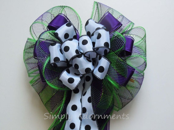Purple Green Halloween Bow Halloween Door Hanger Decoration Green Purple Themed Birthday Party Decor Halloween Party Decor Wreath Door Bow
