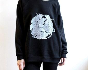 rats, womens organic oversized wideneck raglan sweatshirt, hand printed, onesize, limited edition print