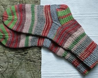 Hand knit socks for women, colorful knit socks, wool socks women