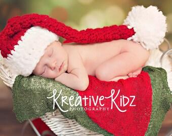SALE Baby Girl Hat Newborn Baby Girl or Boy Crochet  Christmas Hat xmas elf hat santa hat Photography Prop Pink Red Green