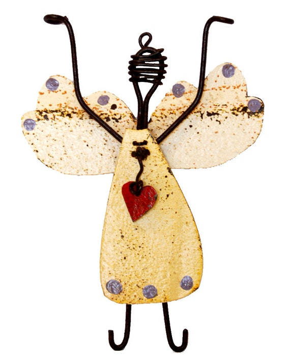 Joyful Folk Art Recycled Metal Angel - Choose Color