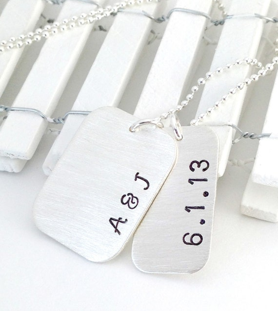 Custom Initials and Date Necklace - Personalized  Anniversary Jewelry Gift for Men or Women Hand Stamped Sterling Silver