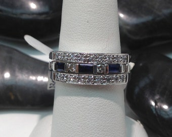 Vintage Sapphire and Diamond Two Piece Ring Set in 14K White Gold