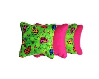 Pink & Green Ladybug Catnip Pillows/Cat Toys (set of 4)