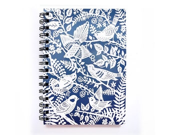 Spiral Notebook - Wild Birds - Blue and White - Lined Pages - A5 notebook