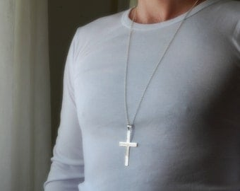 Mens cross necklace sterling silver etsy extra large silver cross necklace sterling silver cross cross pendant big cross long mozeypictures Image collections