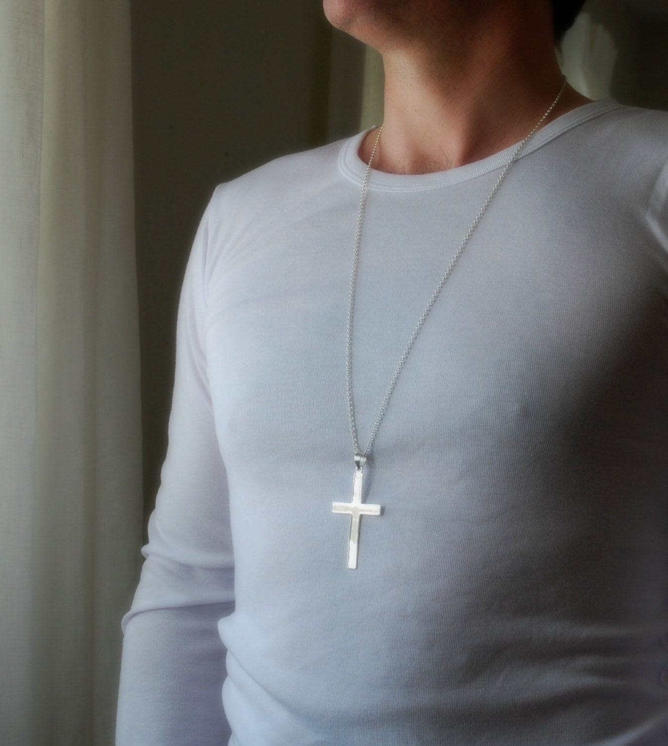 Extra large silver cross necklace sterling cross cross