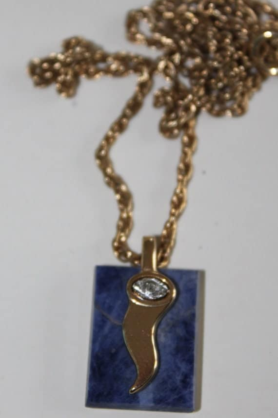 Vintage Necklace / Pendant by Pierre Cardin  pendant in gold plated metal with lapis ,chain necklace , beautiful, signed