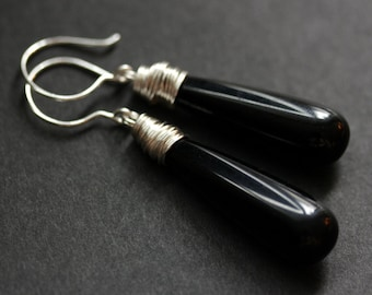 Black Earrings. Long Earrings. Black Glass Earrings. Long Teardrop Earrings. Wire Wrapped Earrings. Handmade Jewelry.