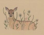 Forest animal nursery artwork, woodland deer, baby girl woodland nursery, 8 x 10 art print, whimsical flowers