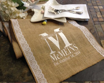 Burlap table runner choose your width by 120 10 feet for 10 foot table runner