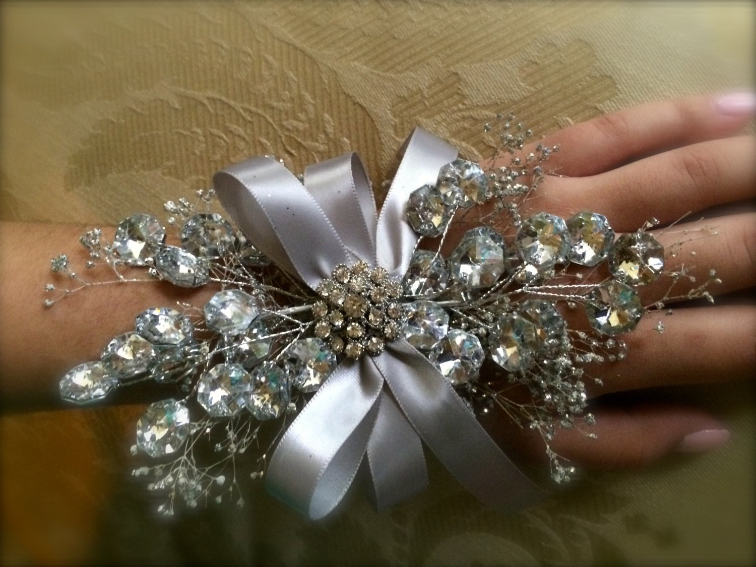 Wrist Corsage: Prom Wrist Corsage Silver Wrist Corsage For By