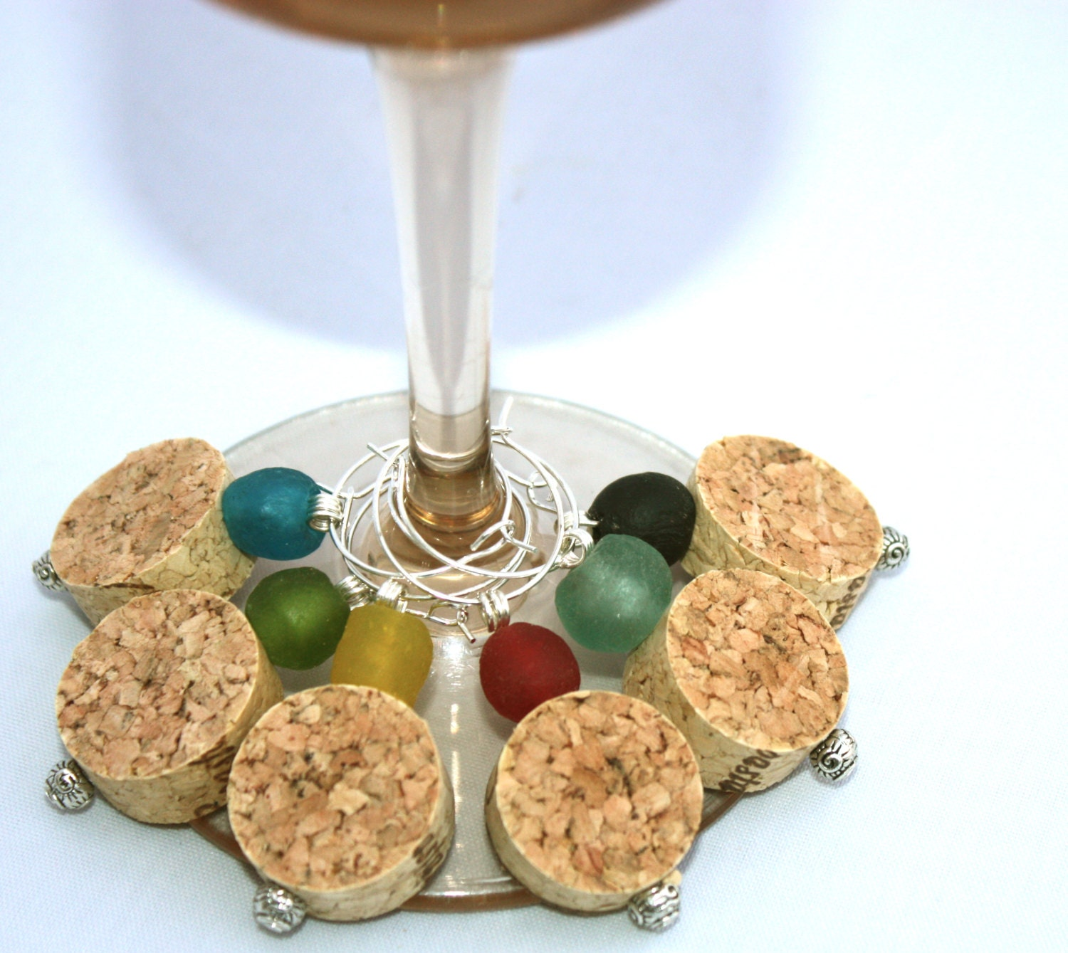Cork Beads: Cork Wine Charms With Recycled Glass Beads In Multi-Colors