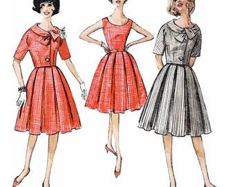 "1962 Jackie ""O"" Vintage Dart-fitted Bodice Dress, Box Pleat Skirt, Kimono Sleeve Jacket, Wide Shaped Collar, Simplicity 4383,  Bust 32"""
