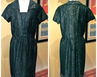 Vintage 1960s Sparking Black Cocktail Dress - M