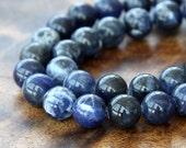 A Grade Sodalite Beads, 10mm Round - 15 inch strand - eGR-SD001-10