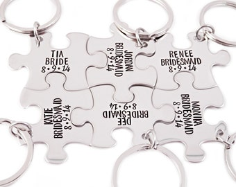 Bridesmaid Gift Puzzle Piece Set - Engraved Puzzle Piece Key Chains - Wedding - Bridal Party - Wedding Puzzle - You Choose Number - 1211