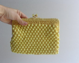 yellow beaded clutch/ vintage 60s/ italian made