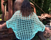 SALE Mint Crochet Shrug 100% cotton 1x, 2x, 3x
