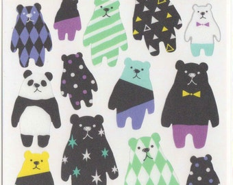 Kawaii Japan sticker Sheet Assort: Sukeru Seal Derpy Pandas and Bears - Cool Colors Tone Black White Teal Purple Bold Pattern Abstract