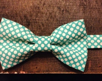 The Overboard - Teal Polka Dot Bow Tie