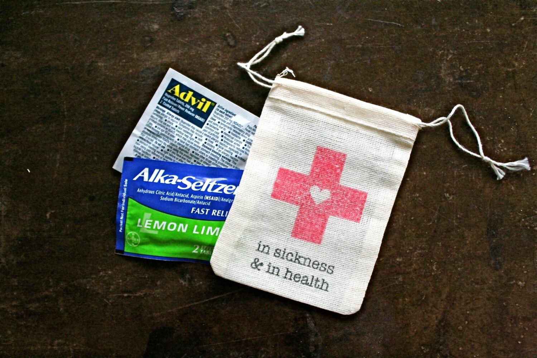 Wedding favor bags muslin 2x4. Set of 50. DIY Hangover Kit