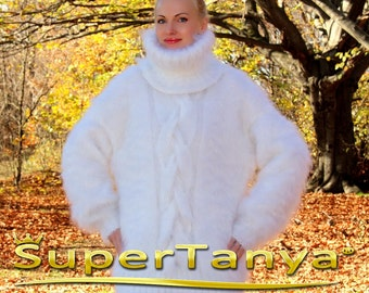 Made to order hand knitted turtneck mohair sweater in white by SuperTanya