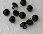 10 Vintage black shoe boot button 10mm with metal shank