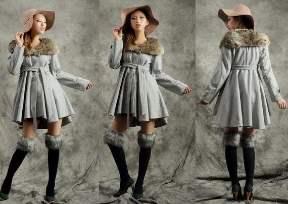 wool jacket--Irregular dovetail wool coat cashmere fur collar wool jacket winter coat winter jacket winter dress wool jacket wool dress