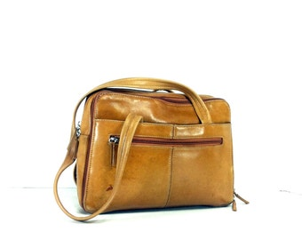 Tan Leather Satchel - Boho Leather Shoulder Bag -Tignanello Tote