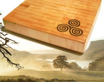 Celtic Spiral Personalized Cutting Board - Triskelion End Grain Maple