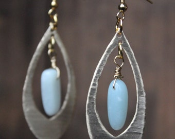Brass and Turquoise Tear Drop Earrings