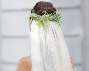 Unique silk tulle veil, Live airplant crown boho eco green bridal