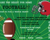 """Printable Superbowl/Football Game Watch Party Invitation - 4x6"""" or 5x7"""" - NFL/College/Sports/Men/TV/Fall/Winter/Draft/Tailgating/Game/Bar"""